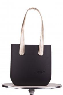 Justo kabelka J-Half Nero s dlouhými zlatými koženkovými držadly