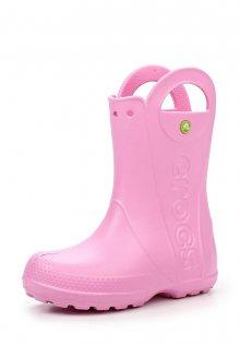 Crocs světle růžové dětské holínky Handle It Rain Boot Kids Carnation  - C7