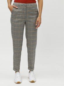 Šedé vzorované oblekové kalhoty s vysokým pasem VERO MODA Laja
