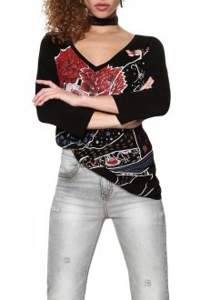 Desigual černé tričko Keppary - XS