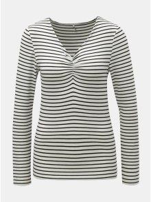Černo-bílé pruhované tričko s řasením v dekoltu ONLY Runa