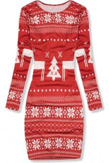 Červené šaty se zimním potiskem