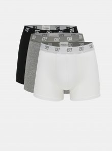 Sada tří boxerek v černé, šedé a bílé barvě CR7