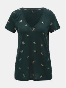 Tmavě zelené tričko s potiskem ONLY Sabella