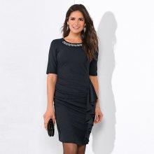 Venca Krátké šaty s krajkovou vsadkou a 3/4 rukávy černá 38