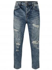 Modré žíhané cropped džíny s potrhaným efektem ONLY & SONS Beam