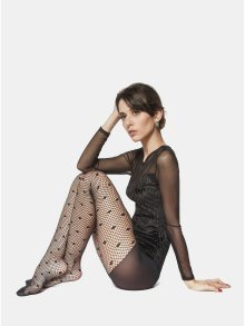 Černé síťované punčochové kalhoty Andrea Bucci Net Polka Dots