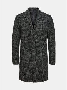 Tmavě šedý kostkovaný vlněný kabát Selected Homme Brove