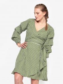 Krémovo-zelené zavinovací šaty VILA Picana
