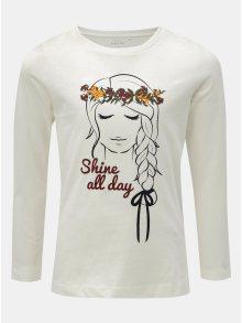 Bílé holčičí tričko s potiskem a dlouhým rukávem Name it Veen