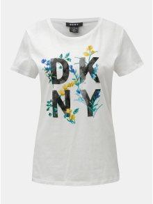 Bílé tričko s potiskem DKNY