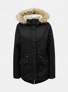 Černá zimní parka s umělým kožíškem ONLY Ruby