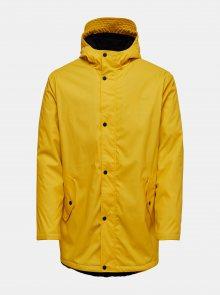 Žlutá nepremokavá bunda s kapucí ONLY & SONS
