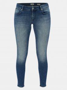 Modré zkrácné push up skinny fit džíny s potrhaným efektem ONLY Dylan