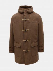 Hnědý kabát s kapucí a příměsí vlny Selected Homme