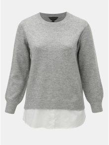 Světle šedý žíhaný svetr s všitou košilovou částí Dorothy Perkins Curve Jumper