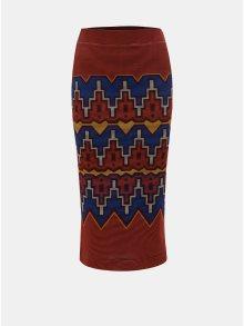 Modro-cihlová vzorovaná pouzdrová sukně Desigual Tacna
