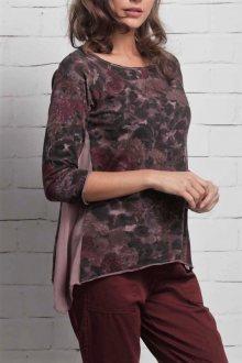 Deha fialové tričko s květinovými motivy - XS