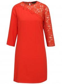 Červené šaty s 3/4 rukávem a krajkou Dorothy Perkins