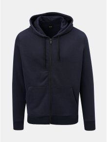 Tmavě modrá mikina s kapucí na zip Burton Menswear London