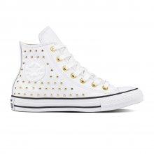 Converse bílé kotníkové tenisky se cvočky Chuck Taylor All Star Hi White/Gold - 36