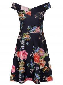 Tmavě modré květované šaty s odhalenými rameny Scarlett B
