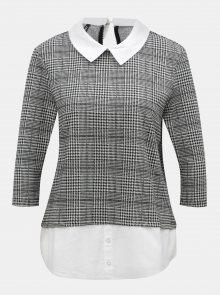 Krémovo-černé tričko s všitým košilovým dílem ONLY Selma