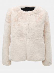 Krémový krátký kabát z umělé kožešiny TALLY WEiJL