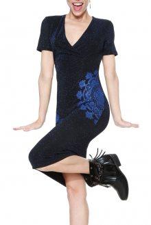 Desigual modré třpytivé šaty Elif  - XS