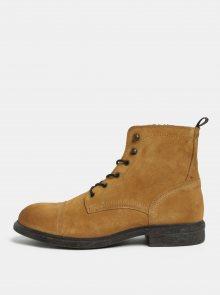 Hnědé pánské semišové kotníkové boty Selected Homme