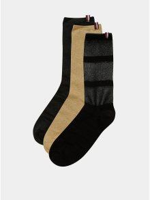 Sada tří párů dámských ponožek v černé a zlaté barvě Tommy Hilfiger