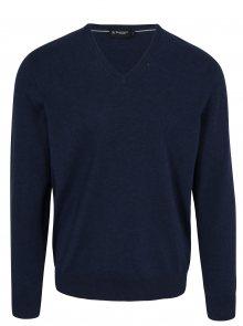 Tmavě modrý svetr s véčkovým výstřihem Hackett London