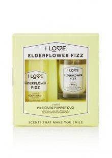 I Love Elderflower Fizz sprchový gel 100 ml, vonná svíčka 60 g dárková sada
