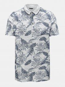 Šedé žíhané polo tričko s tropickým vzorem Burton Menswear London
