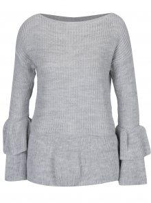 Světle šedý svetr s volány Haily´s Nadine