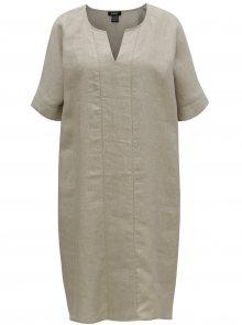 Béžové lněné šaty DKNY
