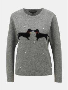 Šedý svetr s vánočním vzorem Dorothy Perkins