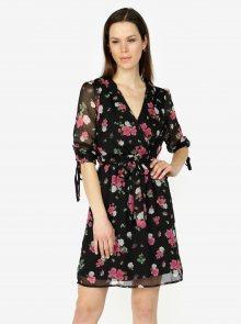Černé květované šaty s 3/4 rukávem VERO MODA Lili mini