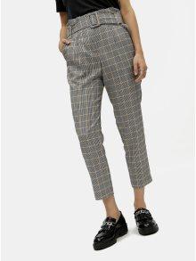 Šedé kostkované kalhoty s vysokým pasem  Miss Selfridge Petites