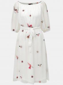 Bílé šaty s výšivkou a páskem Dorothy Perkins
