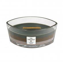 WoodWick Útulný srub - svíčka ve skleněné dekorativní váze s dřevěným víčkem\n\n