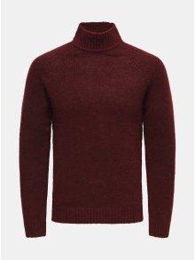 Vínový žíhaný svetr s rolákem ONLY & SONS Patrick