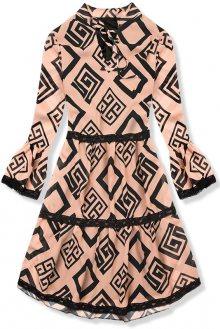 Béžové vzorované šaty