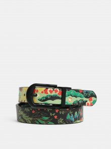 Černo-zelený oboustranný květovaný pásek Desigual Explorer
