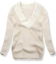Béžový svetr s véčkovým výstřihem
