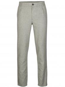 Světle šedé žíhané kalhoty Selected Homme Duke