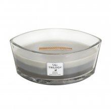 WoodWick Hřejivé dřevo - svíčka ve skleněné dekorativní váze s dřevěným víčkem\n\n