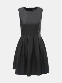 Černé koženkové šaty bez rukávů ONLY Joelle