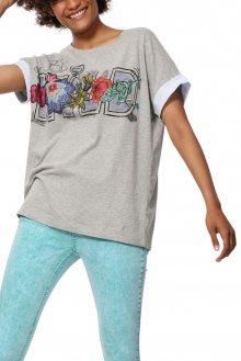 Desigual šedé tričko TS Adriana s výšivkou - M