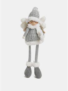 Bílo-šedá sedící figurka andělky Kaemingk